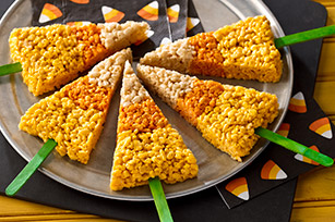 Candy Corn Crispy Treats on a Stick (Courtesy of Kraft Recipes)