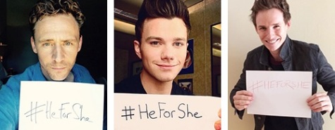 Tom Hiddleston, Chris Colfer, Eddie Redmayne supporting the HeforShe campaign